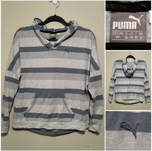 Puma Women's Blue Striped Light Activewear Hoody